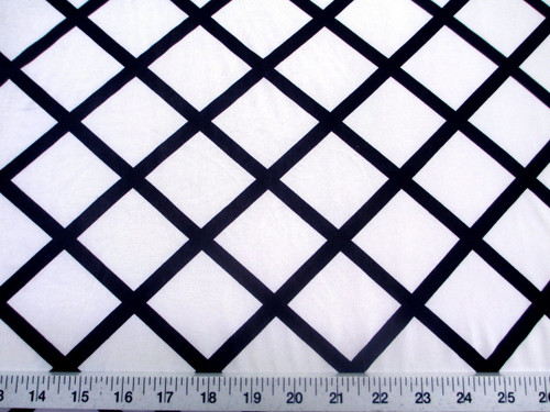 Discount Fabric Printed Jersey Knit ITY Stretch White Diamond Black Lattice C402