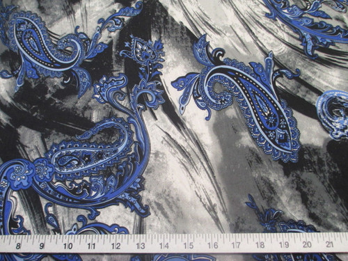 Discount Fabric Printed Jersey Knit ITY Stretch Blue Paisly Storm Clouds A400
