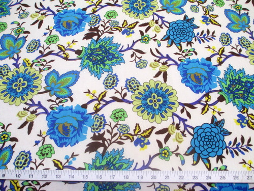 Discount Fabric Printed Jersey Knit ITY Stretch Turquoise Blue White Floral F301