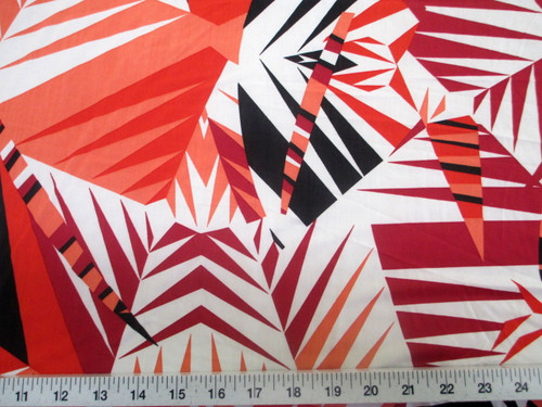 Discount Fabric Printed Jersey Knit ITY Stretch Orange Black Bamboo Leaves A300