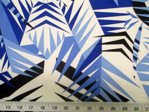 Discount Fabric Printed Jersey Knit ITY Stretch Blue Black Bamboo Leaves A301