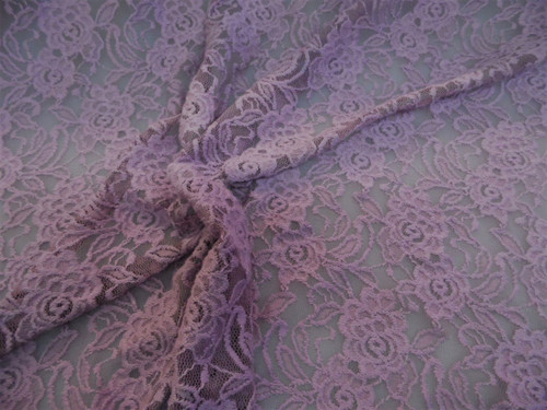 Discount Fabric Stretch Lace Heavily Embroidered Lavender Purple Floral A100