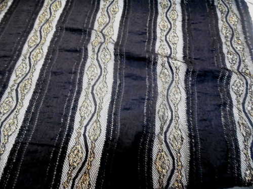 Discount Fabric Stretch Mesh Lace Black Metallic Gold Striped Floral Sheer B502