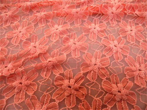 Discount Fabric Stretch Mesh Lace Bright Coral Embroidered Floral Sheer B503