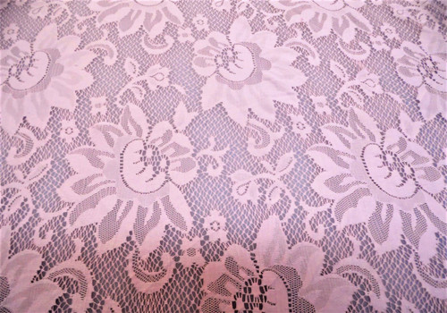 Discount Fabric Stretch Mesh Lace Dusty Pink Sunflower Floral Sheer D603
