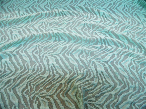 Discount Fabric Stretch Mesh Lace Light Mint Embroidered Zebra Stripe Sheer D203
