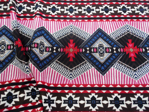 Fabric Printed Liverpool Textured 4 way Stretch Aztec Diamond Multi Colored K300