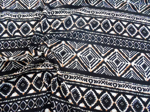 Fabric Printed Liverpool Textured 4 way Stretch Aztec Black Brown Ivory K302
