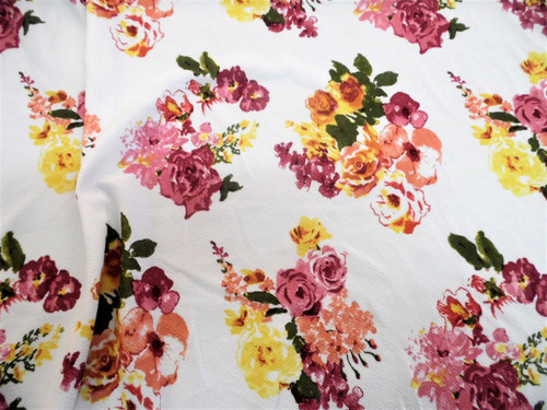 Fabric Printed Liverpool Textured 4 way Stretch Floral Mauve Yellow Peach K400