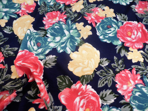 Fabric Printed Liverpool Textured 4 way Stretch Floral Teal Yellow Pink K402