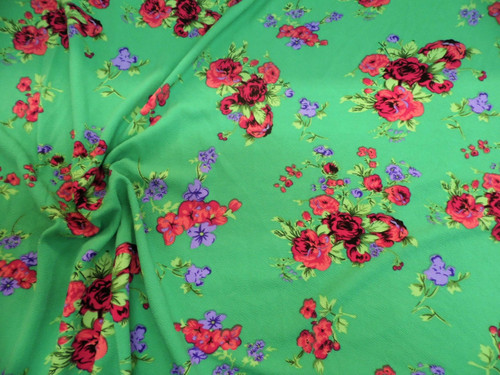 Fabric Printed Liverpool Textured 4 way Stretch Floral Fuchsia Purple Green K403