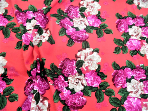 Fabric Printed Liverpool Textured 4 way Stretch Fuchsia Purple Pink Floral K502