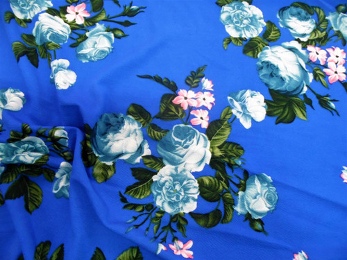 Fabric Printed Liverpool Textured 4 way Stretch Periwinkle Pink Blue Floral K602