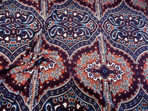 Discount Fabric Printed Spandex 4 way Stretch Paisley Burgundy Orange Blue B405