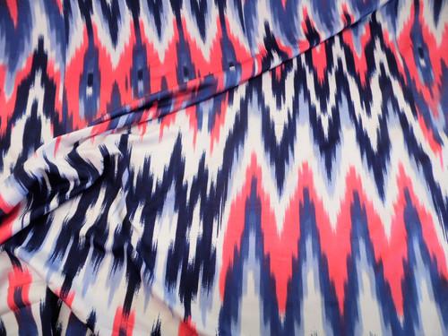 Discount Fabric Printed Spandex 4 way Stretch Ikat Chevron Navy Coral White B406