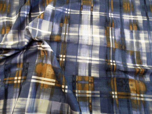Discount Fabric Printed Spandex Stretch Slate Gray Grey Cream Brown Plaid A406