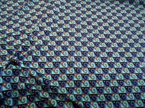 Discount Fabric Printed Spandex 4 way Stretch Aqua Slate Blue Swirl Check A205