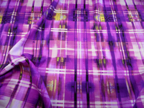 Discount Fabric Printed Spandex Stretch Purple Cream Yellow Plaid C306