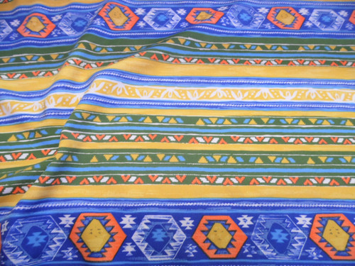 Fabric Printed Spandex Stretch Yellow Orange Green Blue Striped Aztec D304
