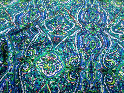 Discount Fabric Challis Rayon Apparel Blue Turquoise Green Pink Paisley G204