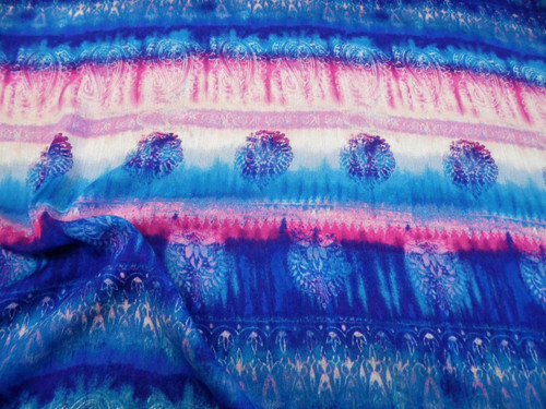 Discount Fabric Challis Rayon Apparel Blue Pink Purple White Ikat Tribal G211