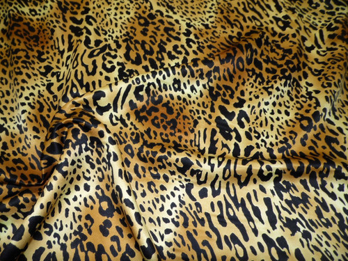 Discount Fabric Charmeuse Silky Bridal Satin Apparel Cheetah Brown Black CS20
