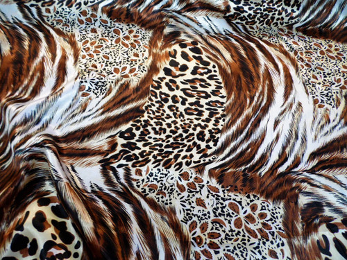 Discount Fabric Charmeuse Silky Bridal Satin Apparel Cheetah Tiger Big Cat CS21