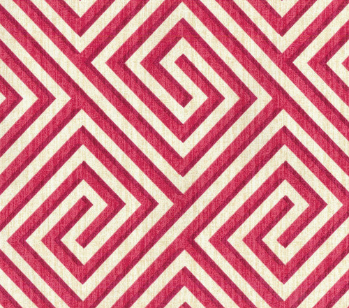 Discount Fabric Upholstery Drapery IMAN Banji Blosson Geometric Red Tan EE45