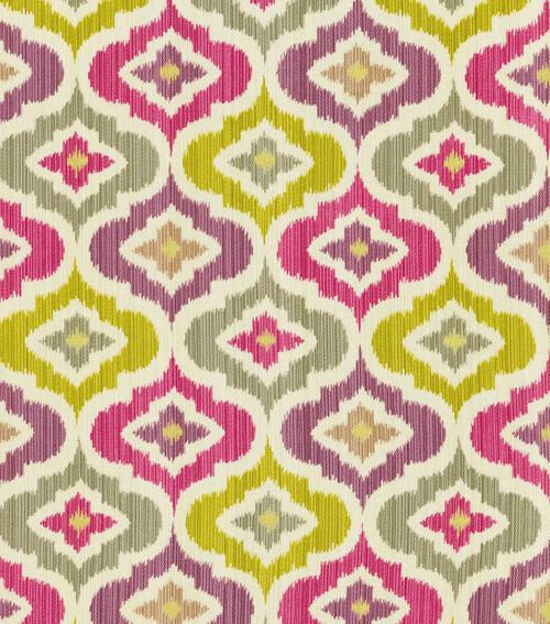 Fabric Upholstery Drapery Waverly Lunar Lattice Passion Pink Purple Ikat EE29