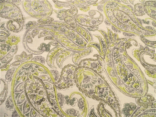 Fabric Upholstery Drapery Waverly Shabby Chic Paisley Yellow Grey Linen EE36