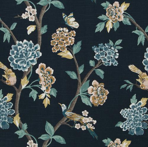 Discount Fabric Robert Allen Upholstery Drapery Helene Floral Admiral Bird EE38