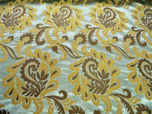 Fabric Robert Allen Beacon Hill Portovenere Ocean Brown Silk Damask Floral *J16