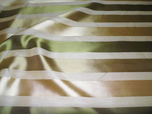 Fabric Robert Allen Beacon Hill Woodland Acres Lichen Stripe Silk Drapery *J19