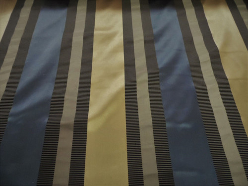 Fabric Robert Allen Beacon Hill Articallo Midnight 100% Silk Stripe Drapery *J36