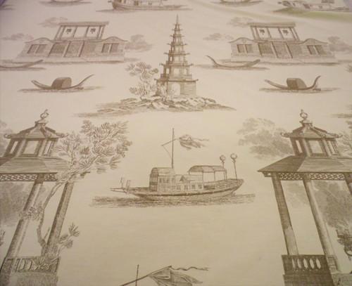 Fabric Robert Allen Beacon Hill Dragon Boat Light Taupe Brown Drapery JJ24