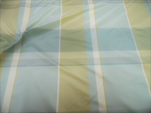 Fabric Robert Allen Beacon Hill Kure Plaid Blue Mist Tan 100% Silk Drapery JJ35