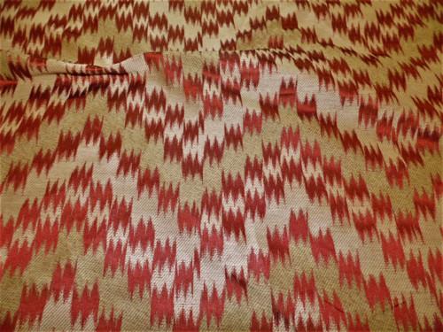 Fabric Robert Allen Beacon Hill Bienville Clay Silk Ikat Chevron Drapery HH28