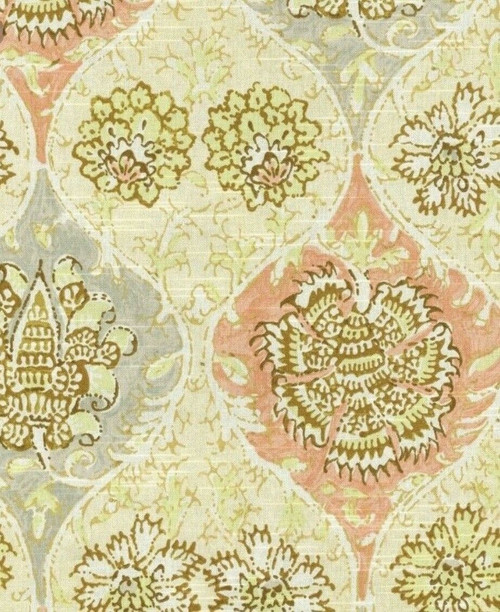 Fabric Upholstery Drapery Waverly Kings Turban Rosewater Gray Pink Floral CC42