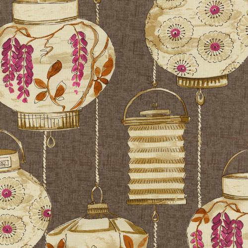 Fabric Upholstery Drapery Waverly Illuminata Spice Asian Themed Latterns EE15