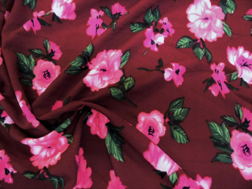 Printed Liverpool Textured Fabric 4 way Stretch Burgundy Fuchsia Pink Floral H50
