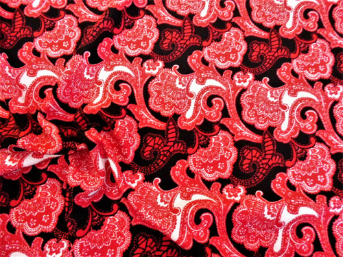 Printed Liverpool Textured Fabric 4 way Stretch Red Black White Floral H601