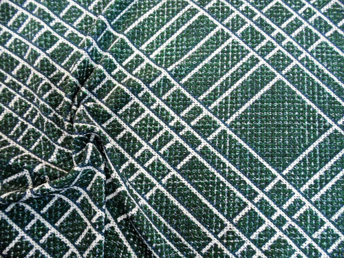 Printed Liverpool Textured Fabric 4 way Stretch Green Blue White Lattice H701