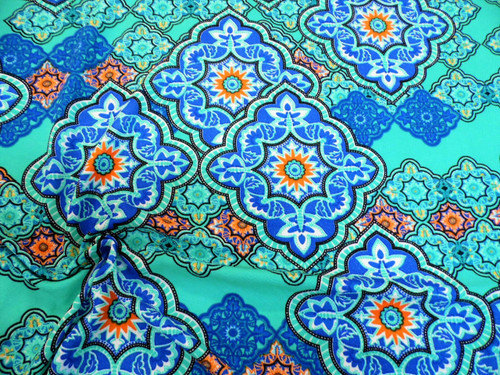 Printed Liverpool Textured Fabric 4 way Stretch Turquoise Orange Blue Floral H70