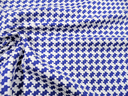 Printed Bullet Liverpool Textured Fabric Stretch Scuba Blue and Ivory Houndstooth T103