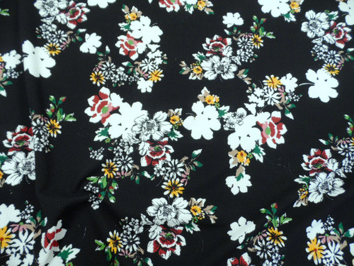 Bullet Printed Liverpool Textured Fabric 4 way Stretch Burgundy White Yellow Green Black Floral U23