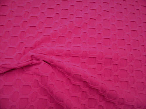 Bubble Liverpool Textured Fabric 4 way Stretch Fuchsia Pink H101
