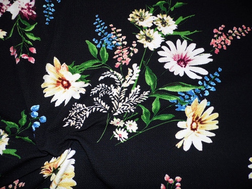 Bullet Printed Liverpool Textured Fabric 4 way Stretch Black Yellow Pink Blue Daisy Floral V11