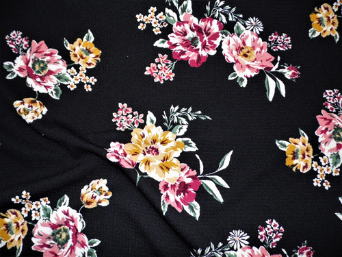 Bullet Printed Liverpool Textured Fabric 4 way Stretch Black Magenta Mauve Goldenrod Floral W20