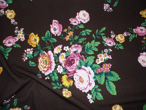 Bullet Printed Liverpool Textured Fabric 4 way Stretch Brown Mauve Pink Goldenrod Floral W21