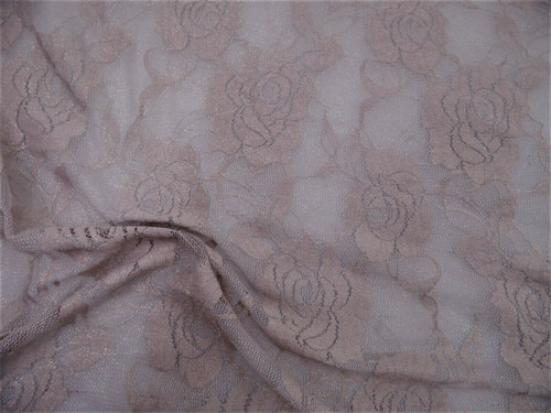 Stretch Mesh Lace Fabric Dusty Eggplant Floral Sheer Gold Metallic Sheen B506